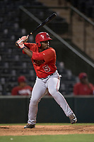 AZL Angels pinch hitter Johan Sala (5) at bat during an Arizona League game against the AZL Athletics at Tempe Diablo Stadium on June 26, 2018 in Tempe, Arizona. The AZL Athletics defeated the AZL Angels 7-1. (Zachary Lucy/Four Seam Images)