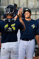 Starting pitcher Justin Brantley (4) of the Columbia Fireflies high-fives catcher Brandon Brosher (25) before a game against the Charleston RiverDogs on Monday, August 7, 2017, at Spirit Communications Park in Columbia, South Carolina. Columbia won, 6-4. (Tom Priddy/Four Seam Images)