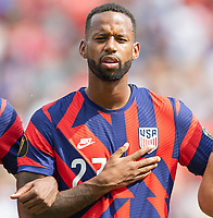 KANSAS CITY, KS - JULY 18: Kellyn Acosta #23 during a game between Canada and USMNT at Children's Mercy Park on July 18, 2021 in Kansas City, Kansas.