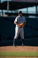 Peoria Javelinas relief pitcher Travis Radke (80), of the San Diego Padres organization, gets ready to deliver a pitch during an Arizona Fall League game against the Mesa Solar Sox at Sloan Park on November 6, 2018 in Mesa, Arizona. Mesa defeated Peoria 7-5 . (Zachary Lucy/Four Seam Images)