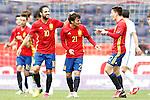 Spain's Cesc Fabregas (l), David Jimenez Silva (c) and Hector Bellerin celebrate goal during friendly match. June 1,2016.(ALTERPHOTOS/Acero)
