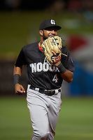 Chattanooga Lookouts right fielder Narciso Crook (4) jogs to the dugout during a Southern League game against the Birmingham Barons on May 1, 2019 at Regions Field in Birmingham, Alabama.  Chattanooga defeated Birmingham 5-0.  (Mike Janes/Four Seam Images)