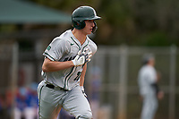 Dartmouth Big Green Kolton Freeman (28) runs to first base during a game against the Indiana State Sycamores on February 21, 2020 at North Charlotte Regional Park in Port Charlotte, Florida.  Indiana State defeated Dartmouth 1-0.  (Mike Janes/Four Seam Images)