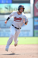 Jason Morozowski (13) of the Visalia Rawhide runs the bases during a game against the Inland Empire 66ers at San Manuel Stadium on June 5, 2017 in San Bernardino, California. Visalia defeated Inland Empire, 9-1. (Larry Goren/Four Seam Images)