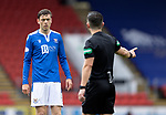 St Johnstone v Celtic…04.10.20   McDiarmid Park  SPFL<br />Murray Davidson talks with referee Nick Walsh<br />Picture by Graeme Hart.<br />Copyright Perthshire Picture Agency<br />Tel: 01738 623350  Mobile: 07990 594431