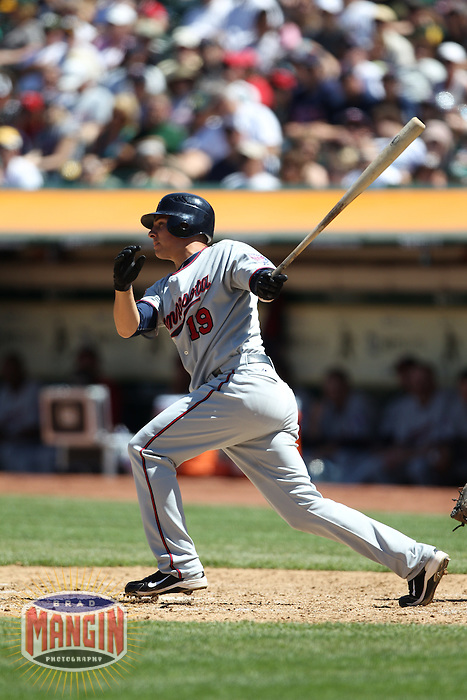 OAKLAND, CA - JUNE 6:  Danny Valencia #19 of the Minnesota Twins bats during the game against the Oakland Athletics at the Oakland-Alameda County Coliseum on June 6, 2010 in Oakland, California. Photo by Brad Mangin
