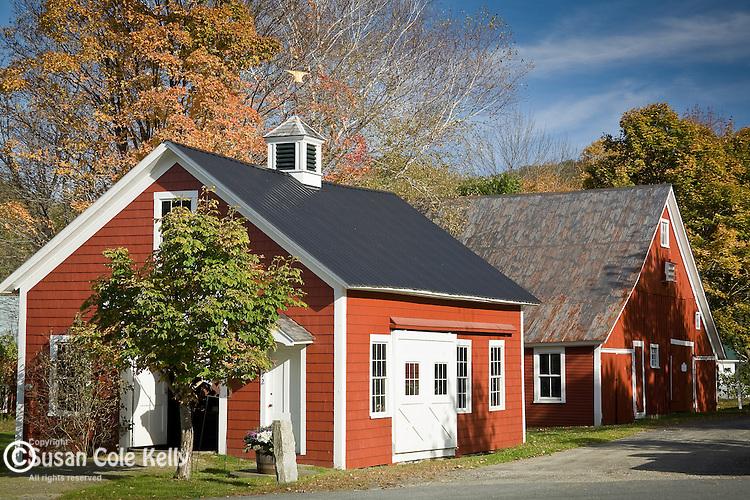 Fall foliage at the red Blacksmith shop in Grafton, VT, USA