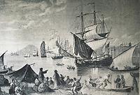 Spain (1500). Arrival of the governor Francisco de Bobadilla to Santo Domingo. Engraving by Columbus de Lorgue. Engraving.
