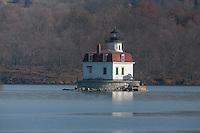 The Esopus Meadows Lighthouse on the Hudson River near Port Ewen, New York