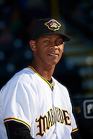 Bradenton Marauders relief pitcher Junior Lopez (52) before a game against the Fort Myers Miracle on April 9, 2016 at McKechnie Field in Bradenton, Florida.  Fort Myers defeated Bradenton 5-1.  (Mike Janes/Four Seam Images)