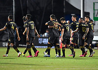 LAKE BUENA VISTA, FL - JULY 18: Mohamed El-Munir #13 of LAFC celebrates his goal with teammates during a game between Los Angeles Galaxy and Los Angeles FC at ESPN Wide World of Sports on July 18, 2020 in Lake Buena Vista, Florida.