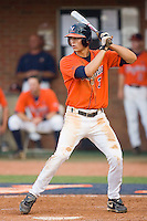 Jarrett Parker #3 of the Virginia Cavaliers at bat against the St. John's Red Storm at the Charlottesville Regional of the 2010 College World Series at Davenport Field on June 6, 2010, in Charlottesville, Virginia.  The Red Storm defeated the Cavaliers 6-5.   Photo by Brian Westerholt / Four Seam Images
