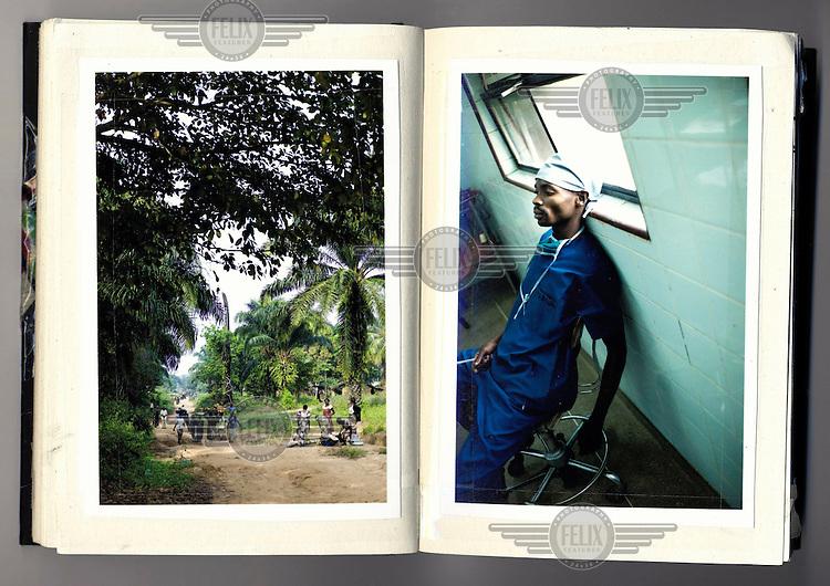 Photographs of the Hospital du Bon Berger and the surrounding area in Chris Keulen's scrapbook.