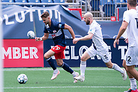 FOXBOROUGH, MA - JULY 4: Ryan Sierakowski #99 of the New England Revolution II approaches the Greenville Triumph SC goal line during a game between Greenville Triumph SC and New England Revolution II at Gillette Stadium on July 4, 2021 in Foxborough, Massachusetts.