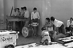 Mexico 1970s daily life village fiesta Oaxaca. Playing the Xylophone, Village band 1973