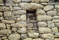 Peru, Machu Picchu.  Historic Preservation, Numbered Stones Indicate that this Section of Wall has been Reconstructed.