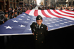 NEW YORK - NOVEMBER 11, 2006:  ROTC members carry a large American flag up Fifth Avenue in the annual Veterans Day parade on November 11th, 2006 in New York City.  (PHOTOGRAPH BY MICHAEL NAGLE)