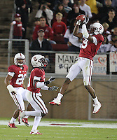 STANFORD, CA - November 6, 2010: Richard Sherman intercepts a pass during a 42-17 Stanford win over the University of Arizona, in Stanford, California.