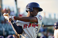 Fort Myers Miracle shortstop Nick Gordon (2) during a game against the Bradenton Marauders on April 9, 2016 at McKechnie Field in Bradenton, Florida.  Fort Myers defeated Bradenton 5-1.  (Mike Janes/Four Seam Images)