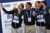PALTRINIERI Gregorio, RIBAUDO Stefano, ACERENZA Domenico, RIBAUDO Stefano, ANTONELLI Fabrizio ITA Gold Medal<br /> Team Event 5 km <br /> Open Water<br /> Budapest  - Hungary  15/5/2021<br /> Lupa Lake<br /> XXXV LEN European Aquatic Championships<br /> Photo Andrea Staccioli / Deepbluemedia / Insidefoto