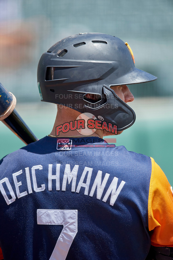 Greg Deichmann (7) of the Las Vegas Aviators during the game against the Salt Lake Bees at Smith's Ballpark on June 27, 2021 in Salt Lake City, Utah. The Aviators defeated the Bees 5-3. (Stephen Smith/Four Seam Images)