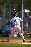 FIU Panthers pinch hitter Javier Valdes (16) bats during a game against the South Dakota State Jackrabbits on February 23, 2019 at North Charlotte Regional Park in Port Charlotte, Florida.  South Dakota defeated FIU 4-3.  (Mike Janes/Four Seam Images)