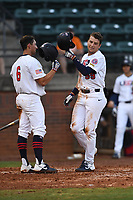 Gavin Cross (59) (Virginia Tech) of Team Stars is greeted at home plate by Brooks Lee (6) (Cal Poly) after hitting a home run during a game against Team Stripes on July 6, 2021 at Pioneer Park in Greeneville, Tennessee. (Tracy Proffitt/Four Seam Images)