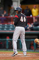 Richmond Flying Squirrels outfielder Daniel Carbonell (46) at bat during a game against the Erie Seawolves on May 19, 2015 at Jerry Uht Park in Erie, Pennsylvania.  Richmond defeated Erie 8-5.  (Mike Janes/Four Seam Images)