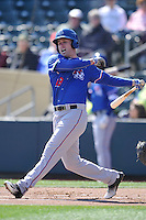 Round Rock Express infielder Patrick Kivielhan (18) swings against the Omaha Storm Chasers at Werner Park on April 12, 2016 in Omaha, Nebraska.  The Express won 6-4.  (Dennis Hubbard/Four Seam Images)