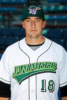 Jamestown Jammers pitcher Charles Wier #18 poses for a photo before a game against the Mahoning Valley Scrappers at Russell E. Diethrick Jr Park on September 2, 2011 in Jamestown, New York.  Mahoning Valley defeated Jamestown 8-4.  (Mike Janes/Four Seam Images)
