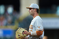 Texas Longhorns first baseman Zach Zubia (52) on defense against the LSU Tigers in game three of the 2020 Shriners Hospitals for Children College Classic at Minute Maid Park on February 28, 2020 in Houston, Texas. The Tigers defeated the Longhorns 4-3. (Brian Westerholt/Four Seam Images)