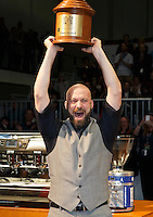MELBOURNE, 26 MAY - Pete LICATA from USA celebrates after being announced as the winner of the the 2013 World Barista Championship held at the Melbourne Show Grounds in Melbourne, Australia. Licata won in a field of national champion baristas from 53 countries. Photo Sydney Low / syd-low.com