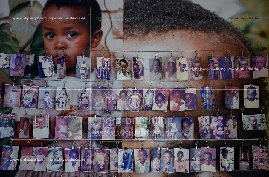 RWANDA, Kigali, Kigali Genocide Memorial , a museum and memorial to remember the genocide of 1994 where about 1 million Tutsi were murdered by Hutu, family images of murdered Tutsi children / RUANDA, Kigali, Voelkermorddenkmal, Museum, Denkmal und Ruhestaette fuer 250.000 Opfer des Genozids an der Tutsi Bevoelkerungsgruppe im Jahr 1994, Kigali Genocide Memorial, Familienfotos ermordeter Tutsi Kinder