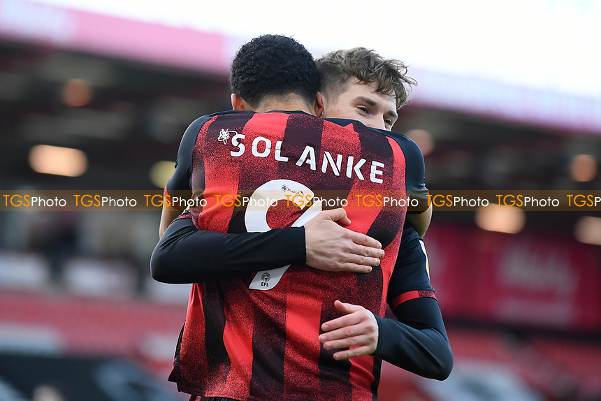 Dominic Solanke of AFC Bournemouth is congratulated by David Brooks of AFC Bournemouth after scoring the first goal during AFC Bournemouth vs Huddersfield Town, Sky Bet EFL Championship Football at the Vitality Stadium on 12th December 2020