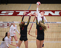 STANFORD, CA - November 15, 2017: Meghan McClure, Kate Formico, Audriana Fitzmorris at Maples Pavilion. The Stanford Cardinal defeated USC 3-0 to claim the Pac-12 conference title.