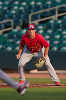 Palm Beach Cardinals first baseman Jacob Buchberger (27) during a game against the Jupiter Hammerheads on May 11, 2021 at Roger Dean Chevrolet Stadium in Jupiter, Florida.  (Mike Janes/Four Seam Images)