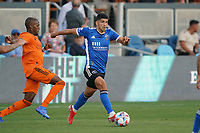 SAN JOSE, CA - JULY 24: Luciano Abecasis #2 of the San Jose Earthquakes during a game between Houston Dynamo and San Jose Earthquakes at PayPal Park on July 24, 2021 in San Jose, California.