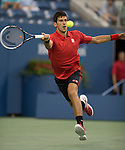 Novak Djokovic (SRB) defeats Ricardas Berankis (LTU)  6-1, 6-2, 7-5 at the US Open being played at USTA Billie Jean King National Tennis Center in Flushing, NY on August 27, 2013
