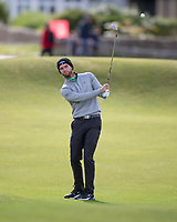 3rd October 2021; The Old Course, St Andrews Links, Fife, Scotland; European Tour, Alfred Dunhill Links Championship, Fourth round; Daniel Gavins of England hits a shot from the fairway on the second hole during the final round of the Alfred Dunhill Links Championship on the Old Course, St Andrews