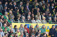 05.04.2014.  Norwich, Norfolk, England.  Delia Smith watches on with friends and family during the Barclays Premier League match between Norwich City and West Bromwich Albion from Carrow Road.
