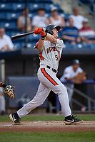 Aberdeen Ironbirds Kyle Stowers (54) bats during a NY-Penn League game against the Staten Island Yankees on August 22, 2019 at Richmond County Bank Ballpark in Staten Island, New York.  Aberdeen defeated Staten Island 4-1 in a rain shortened game.  (Mike Janes/Four Seam Images)
