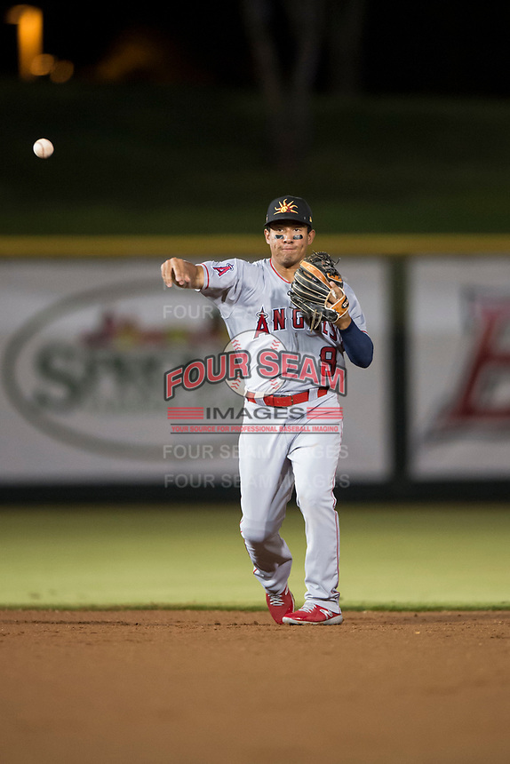Mesa Solar Sox second baseman Jahmai Jones (9), of the Los Angeles Angels organization, throws to first base during an Arizona Fall League game against the Scottsdale Scorpions on October 9, 2018 at Scottsdale Stadium in Scottsdale, Arizona. The Solar Sox defeated the Scorpions 4-3. (Zachary Lucy/Four Seam Images)