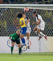 Kate Markgraf, Carli Lloyd, Tania, Hope Solo. The USWNT defeated Brazil, 1-0, to win the gold medal during the 2008 Beijing Olympics at Workers' Stadium in Beijing, China.