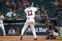 Tanner Poole (12) of the Mississippi State Bulldogs at bat against the Houston Cougars in game six of the 2018 Shriners Hospitals for Children College Classic at Minute Maid Park on March 3, 2018 in Houston, Texas. The Bulldogs defeated the Cougars 3-2 in 12 innings. (Brian Westerholt/Four Seam Images)