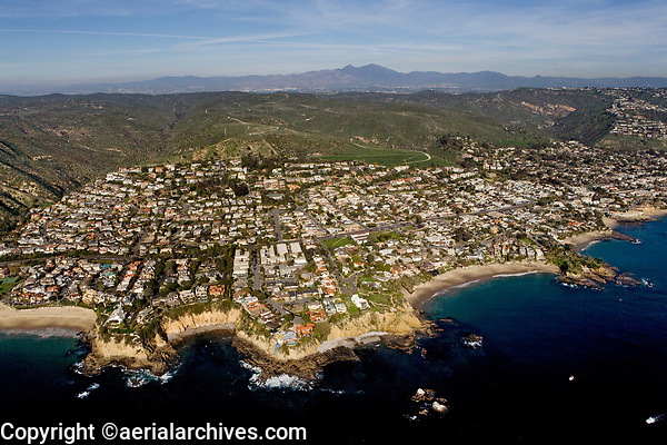 aerial photograph of residential ocean front property at Crescent Bay and Emerald Bay north of Laguna Beach, Orange County,  California