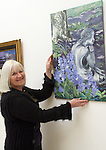 Celine Stevenson with one of her paintings at the Opening of the Indigo Art Exhibion in the Laurence Centre...Photo NEWSFILE/Jenny Matthews.(Photo credit should read Jenny Matthews/NEWSFILE)....This Picture has been sent you under the condtions enclosed by:.Newsfile Ltd..The Studio,.Millmount Abbey,.Drogheda,.Co Meath..Ireland..Tel: +353(0)41-9871240.Fax: +353(0)41-9871260.GSM: +353(0)86-2500958.email: pictures@newsfile.ie.www.newsfile.ie.FTP: 193.120.102.198.