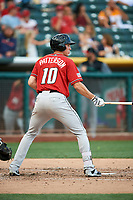 Jordan Patterson (10) of the Albuquerque Isotopes bats against the Salt Lake Bees in Pacific Coast League action at Smith's Ballpark on June 10, 2017 in Salt Lake City, Utah. The Isotopes defeated the Bees 4-2. (Stephen Smith/Four Seam Images)