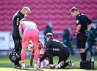 27th September 2020; Ashton Gate Stadium, Bristol, England; English Football League Championship Football, Bristol City versus Sheffield Wednesday; Jack Hunt of Bristol City receives treatment for an injury