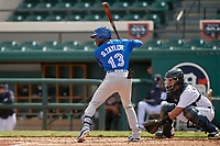 Toronto Blue Jays Samad Taylor (13) bats during a Florida Instructional League game against the Detroit Tigers on October 28, 2020 at Joker Marchant Stadium in Lakeland, Florida.  (Mike Janes/Four Seam Images)