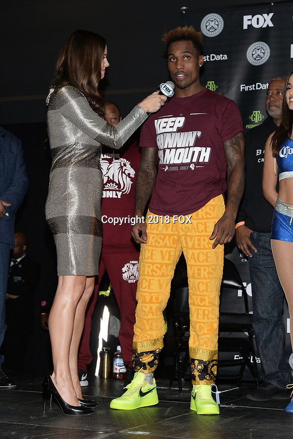 BROOKLYN, NY - DECEMBER 21: Reporter Heidi Androl interviews Jermall Charlo at the Premier Boxing Champions official weigh-in for the December 22 Fox PBC Fight Night at the Barclay Center on December 21, 2018 in Brooklyn, New York. (Photo by Anthony Behar/Fox Sports/PictureGroup)